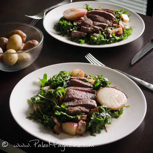 paleo steak salad with coconut pan-fried peaches recipe