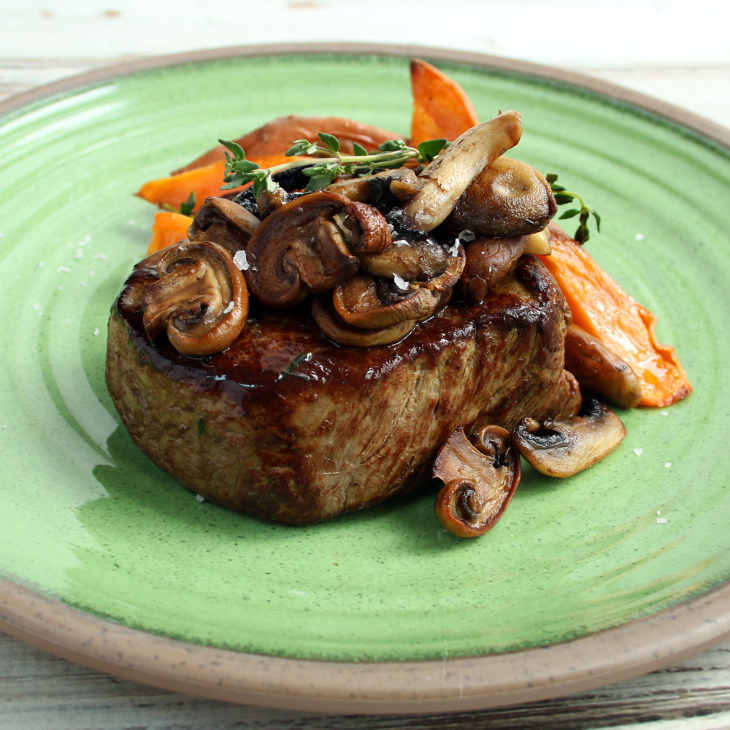 AIP Steak with Mushrooms, Thyme, and Sweet Potatoes