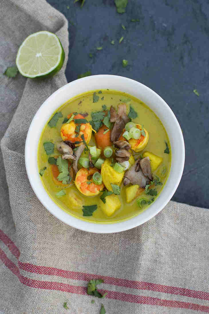Fish Curry Soup with Trumpet Mushrooms