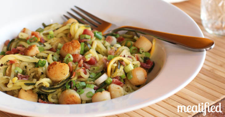Zucchini Noodles with Scallops & Bacon