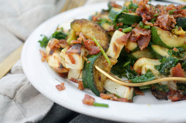 Breakfast Fries with Bacon-Chive Crumble