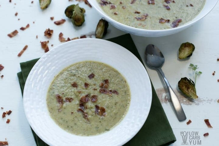 Roasted Brussels Sprout Soup with Bacon