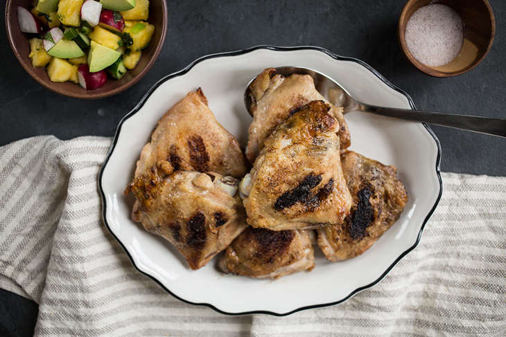 Grilled Chicken Thighs with Pineapple-Mint Salsa