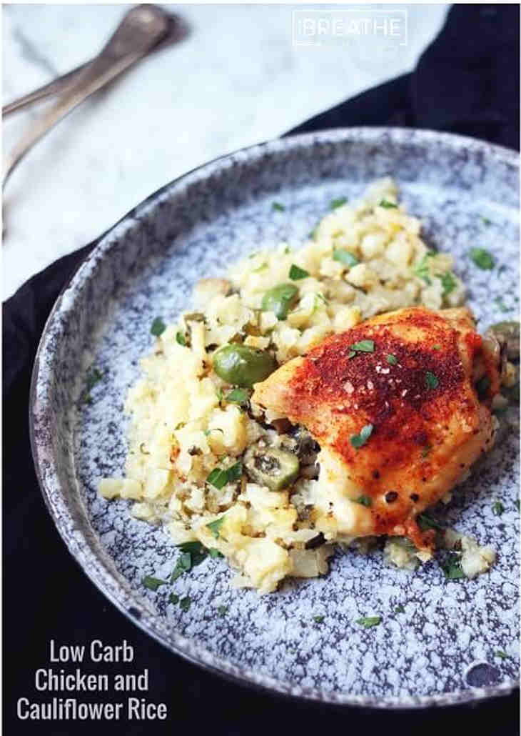 Low Carb Baked Chicken and Cauliflower Rice