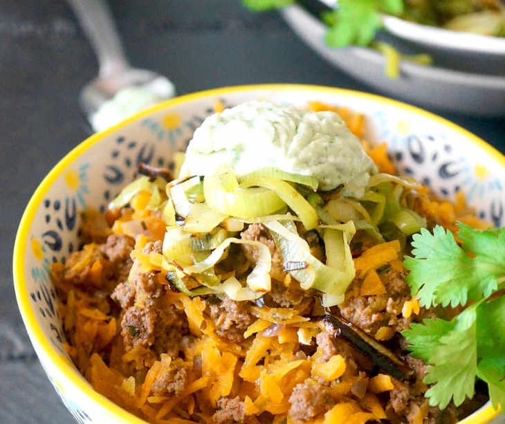 """Taco Beef & Butternut Rice with Cilantro """"Sour Cream"""""""