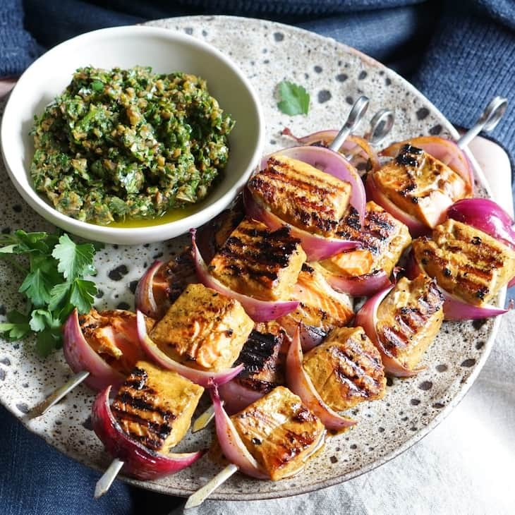 Turmeric Salmon Brochettes with a Chunky Tapenade Relish